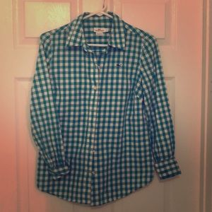 VINEYARD VINES CHECKERED GREEN WHITE BUTTON DOWN 0